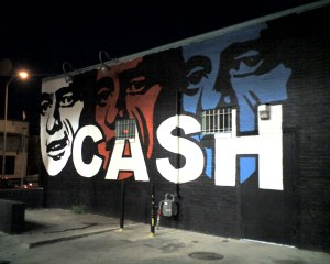 Johnny Cash mural on the side of a building in downtown Austin on Rio Grande just below 6th Street.